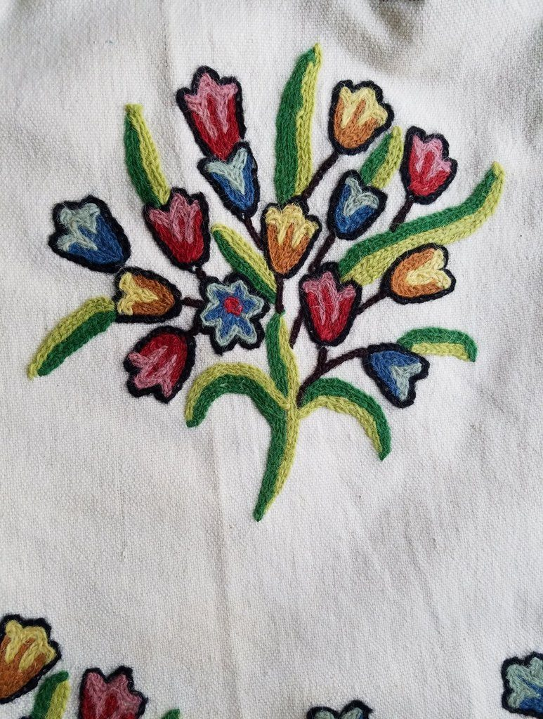 Embroidered spring flower fabric